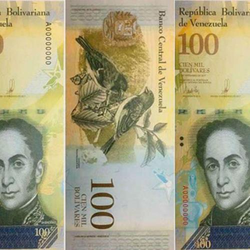 El billete venezolano de 100.000 se devalúa 36%