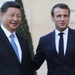 French President Emmanuel Macron (R) escorts out Chinese President Xi Jinping (L)   after their meeting at the Elysee Palace in Paris, on March 25, 2019, as part of a state visit. - The Chinese president is on a  three-day state visit to France where he is expected to sign a series of bilateral and economic deals on energy, the food industry, transport and other sectors. (Photo by LUDOVIC MARIN / AFP)